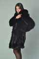 Luscious Black Fox Fur Coat Knee Length side view