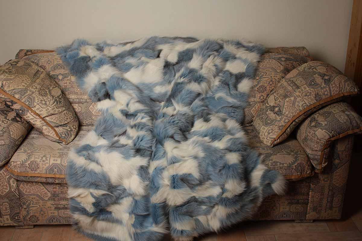 Popular Blue and white fox fur blanket YL93