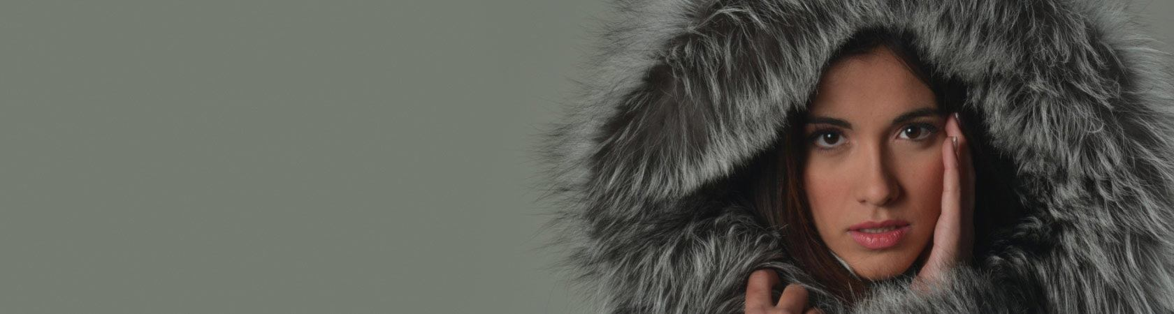 SILVER FOX FUR COAT WITH HOOD KNEE LENGTH