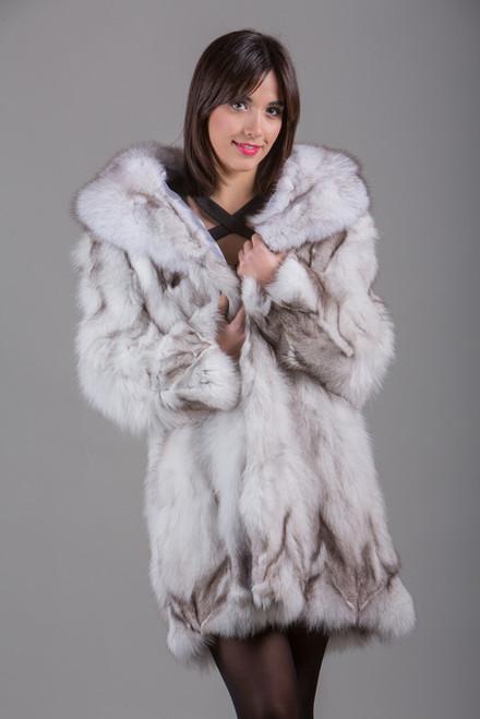 Blue Fox Fur Coat Knee Length Skandinavik Fur