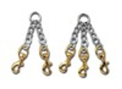 2 Dog Chain Coupler with Brass Snaps