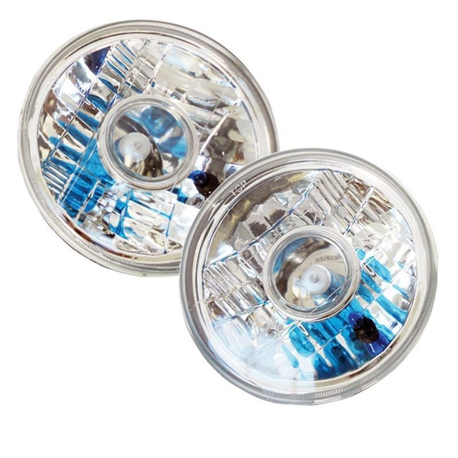 """7"""" Round Chrome Projector-Style Reflector Headlight Housings - Sealed Beam"""