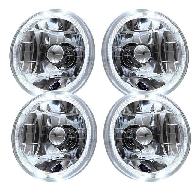 "5.75"" 6"" Round Chrome Halo Reflector Headlights (Set of 4) - Sealed Beam"