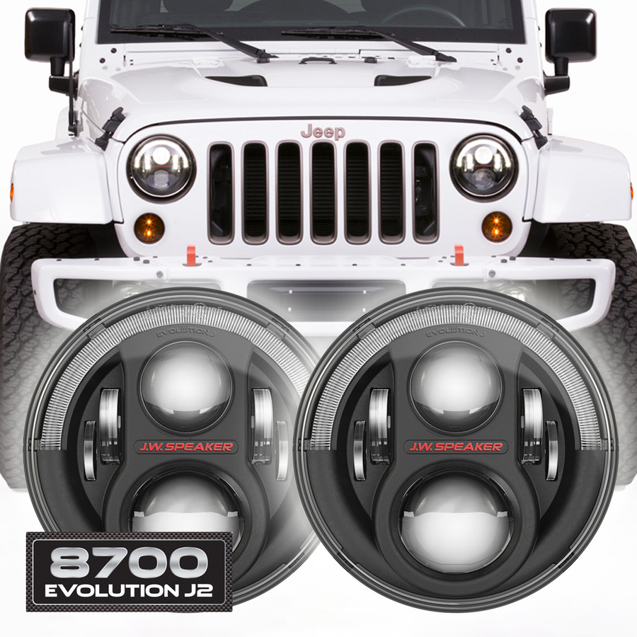 JW Speaker 8700 Evolution J2 Set of 2 LED Jeep Headlight Kit - Black Bezel