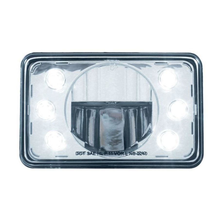 "United Pacific 31356 4x6"" LED Low Beam Headlight with Accent Lights"