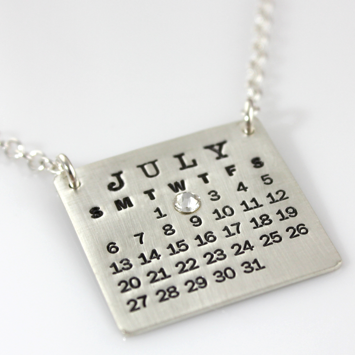 Mark Your Calendar Necklace Top Hang with Crystal