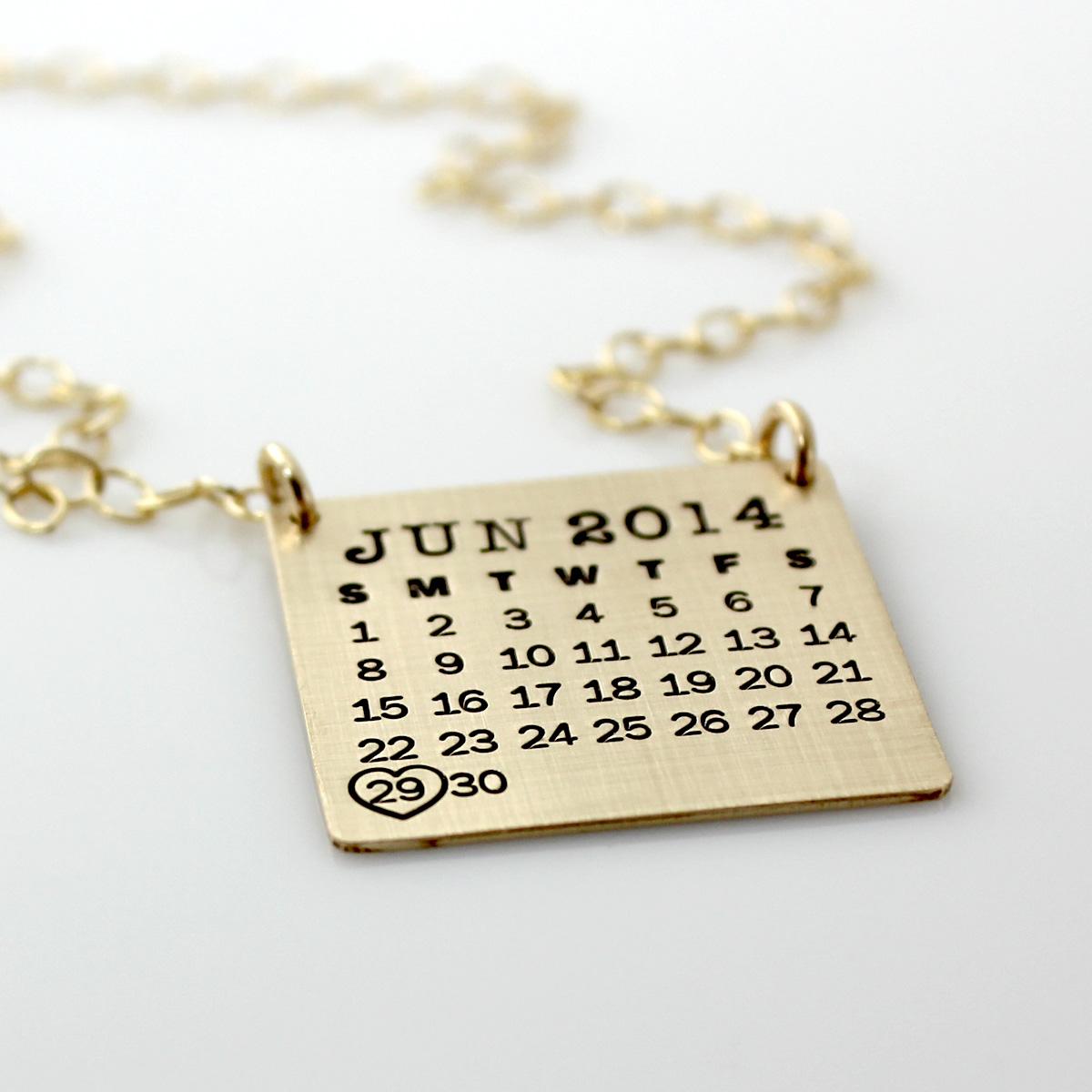 Mark Your Calendar Necklace Top Hang - Gold Filled, Brushed Finish