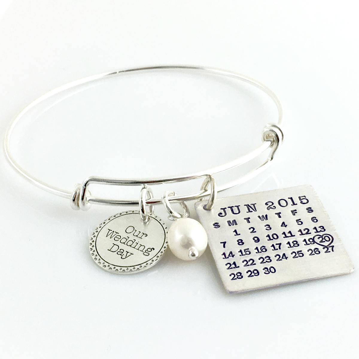 Mark Your Calendar Bangle Bracelet with Our Wedding Day Charm