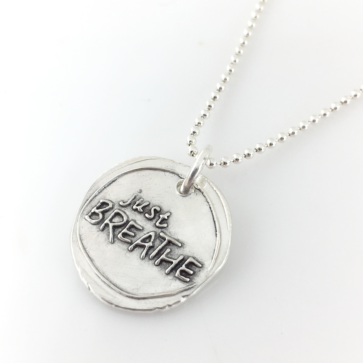 Just Breathe Wax Seal Inspired Necklace