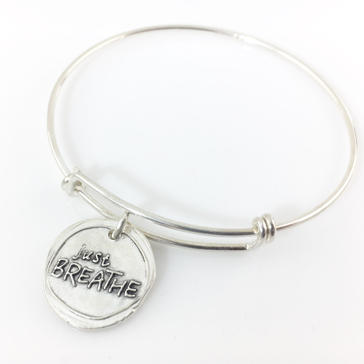 Just Breathe Wax Seal Inspired Bangle Bracelet