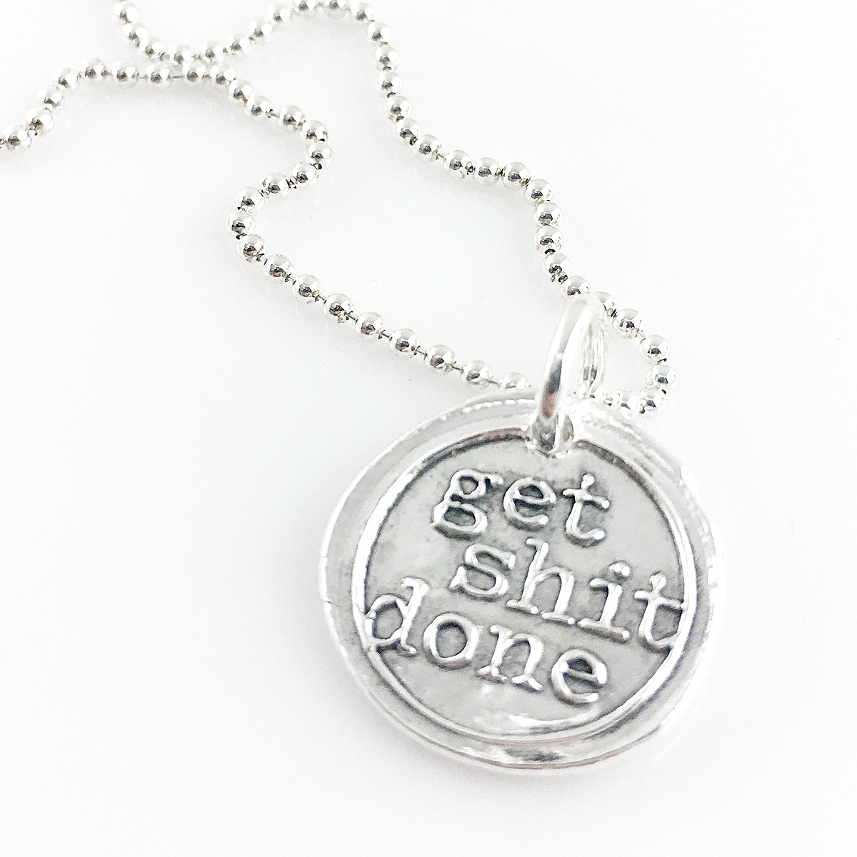 Get Shit Done Wax Seal Necklace