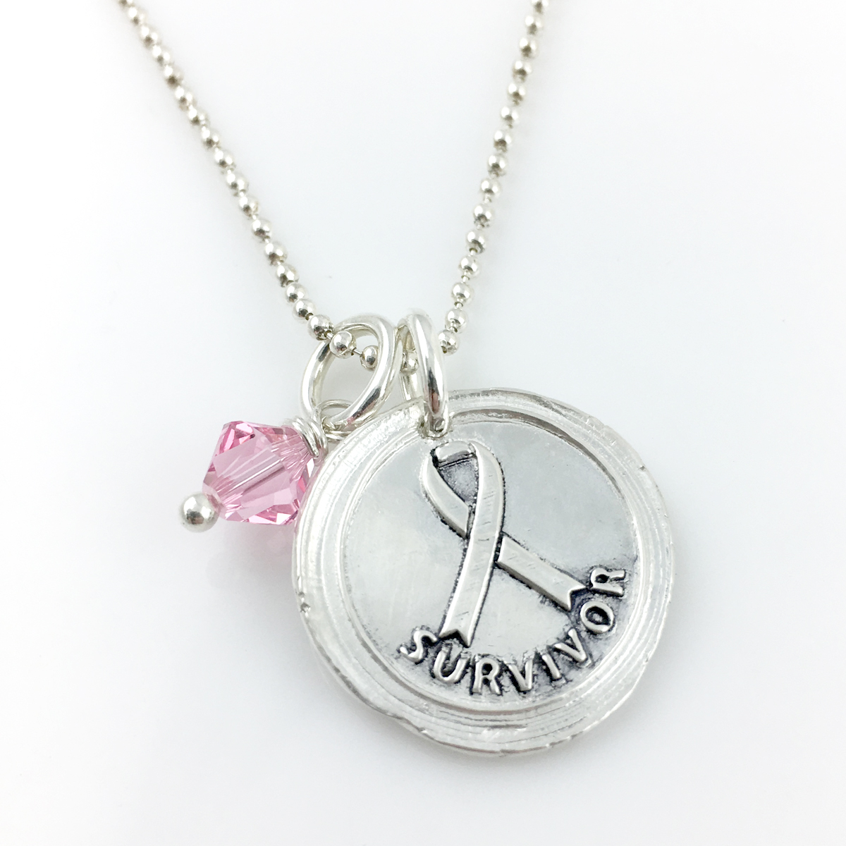 Breast Cancer Survivor   Awareness Ribbon Wax Seal Necklace shown with added pink crystal
