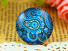 1 Blue Paisley 25mm Round Glass Cabochon