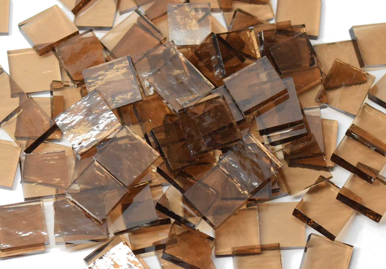 Bulk Discount - Bronze Rough Rolled Stained Glass Mosaic Tiles