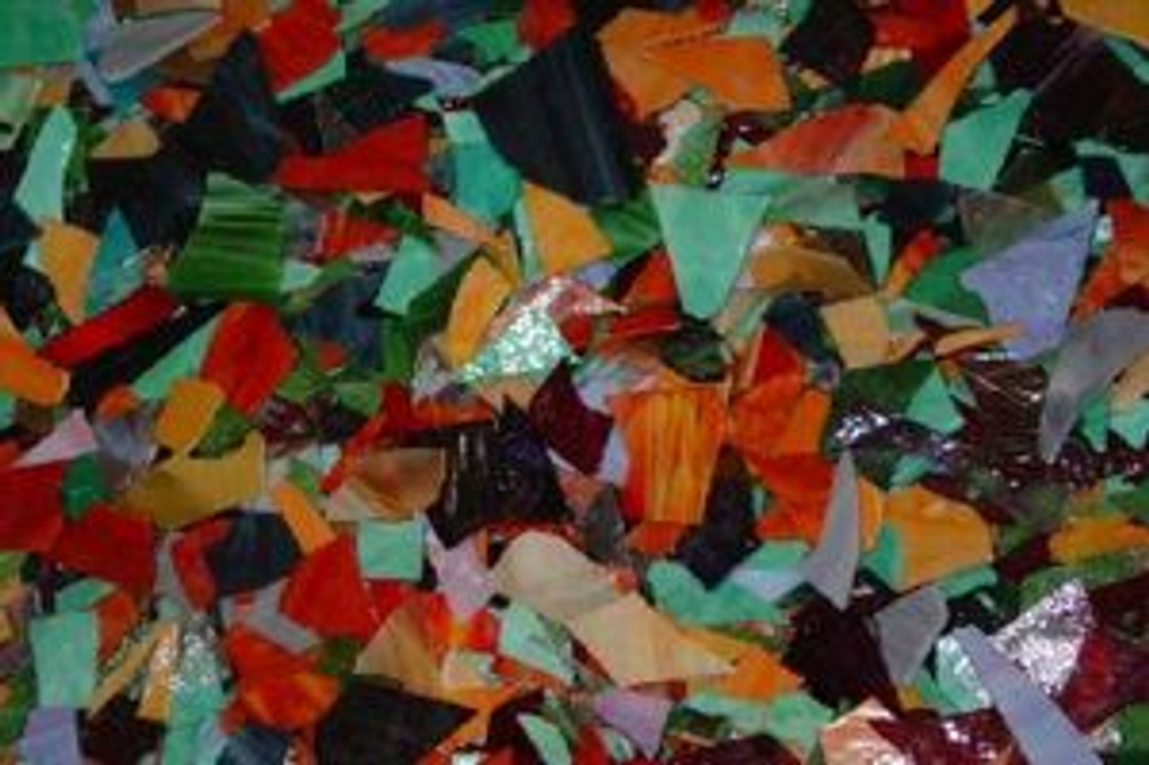 1 pound of MOSAIC STAINED GLASS SCRAP
