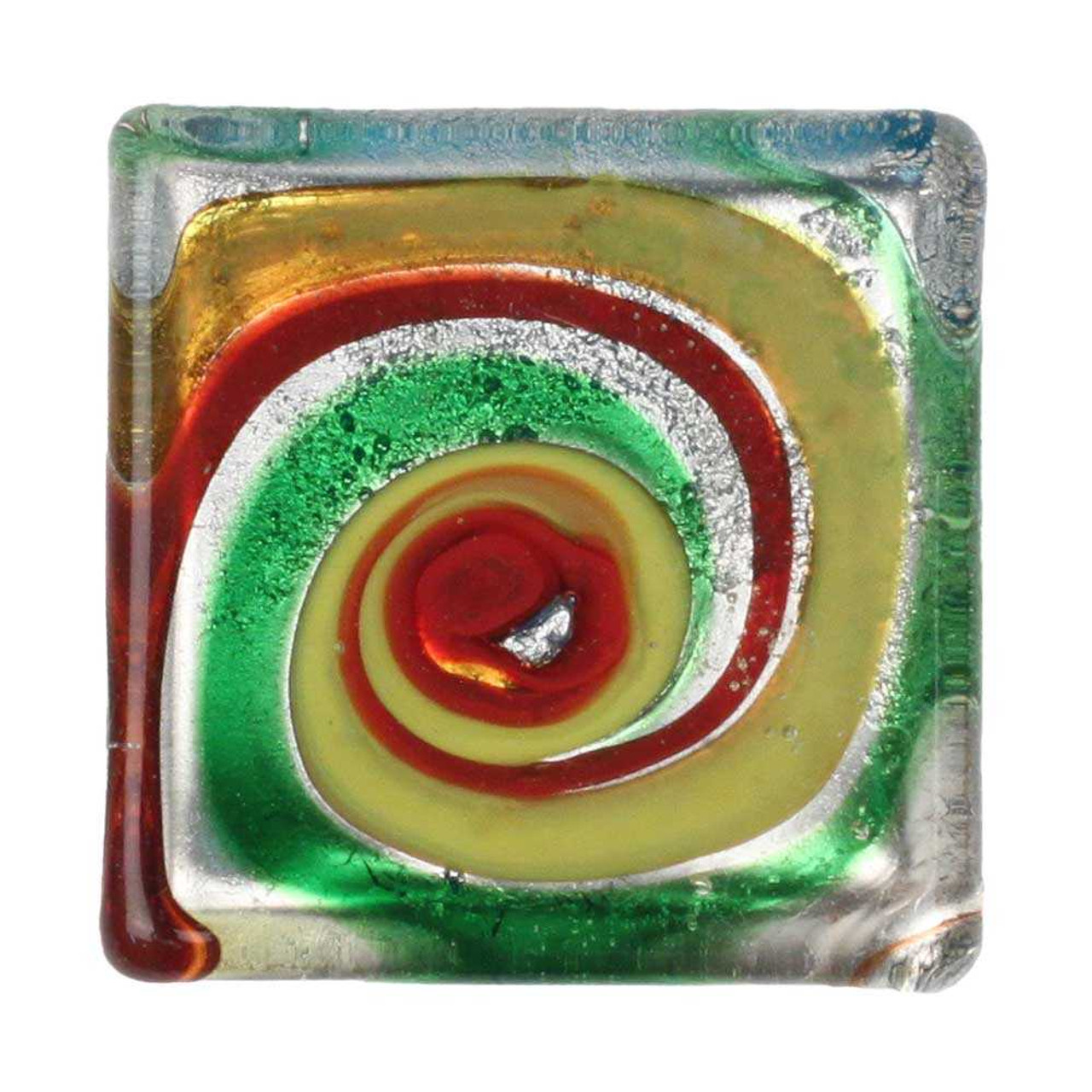 1 Yellow, Red, Silver & Green Lampwork Cabochon, 30x30x6mm