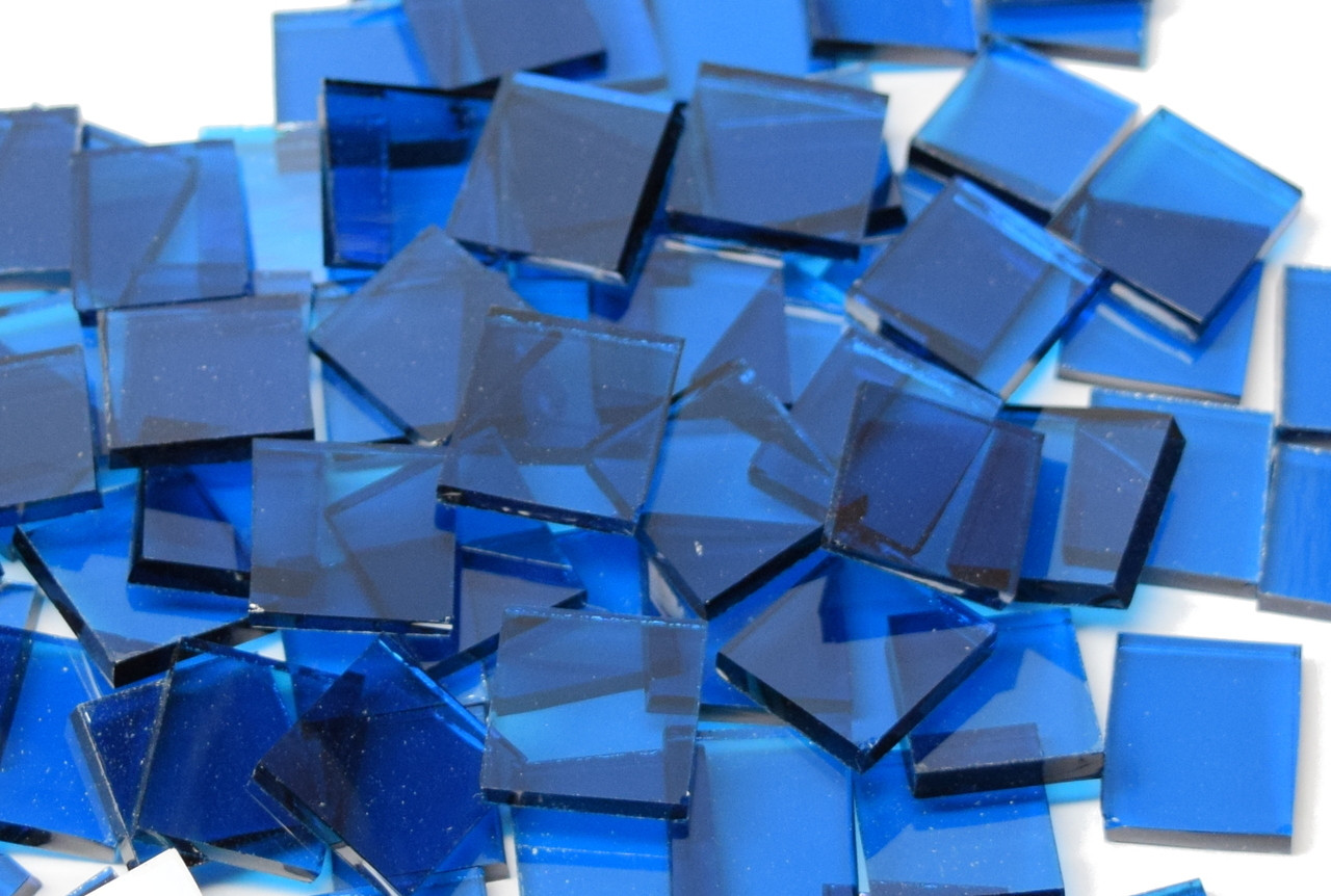 Deep Aqua Waterglass Mosaic Tiles