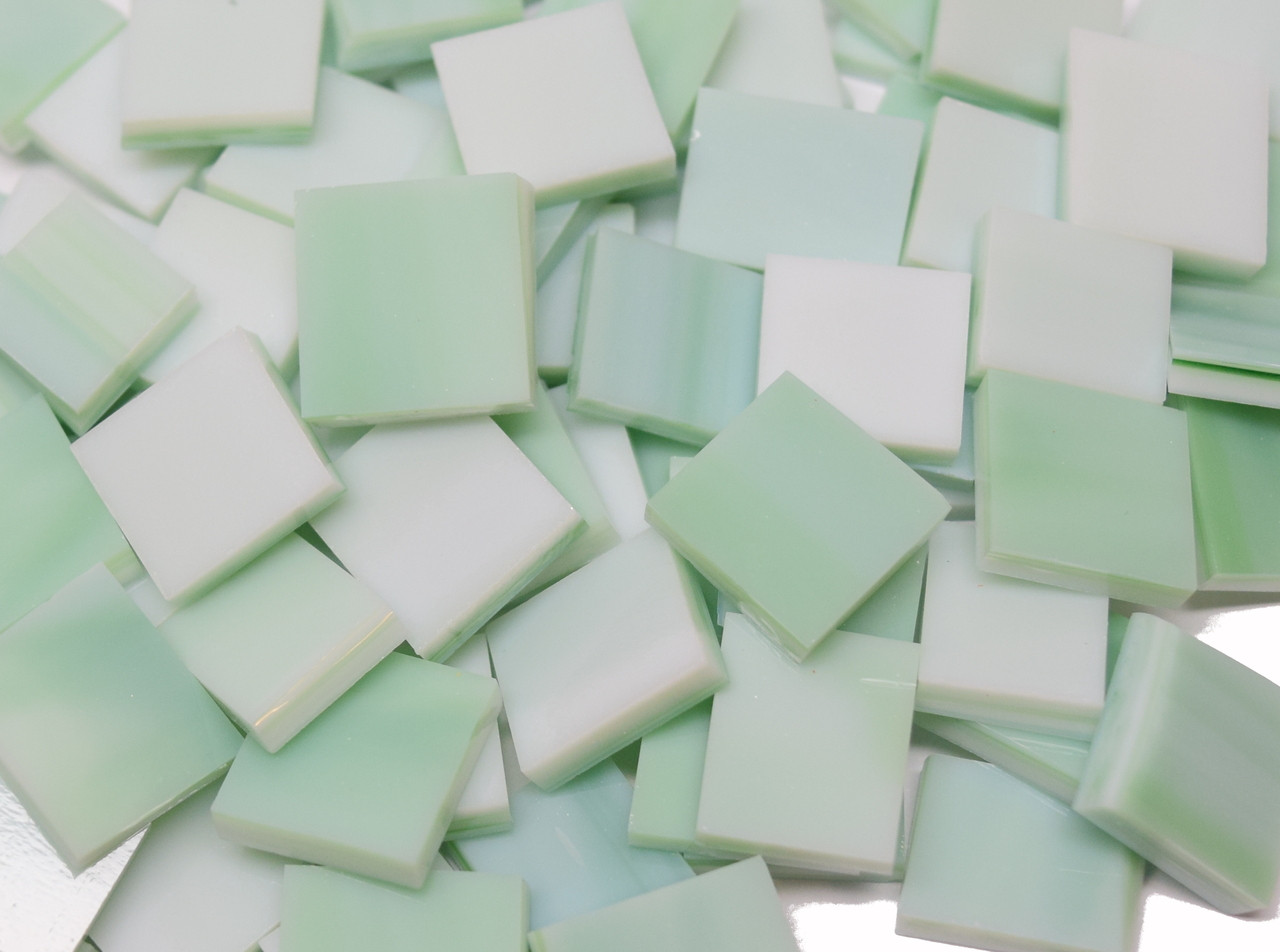 Wispy Mint Opal Stained Glass Mosaic Tiles