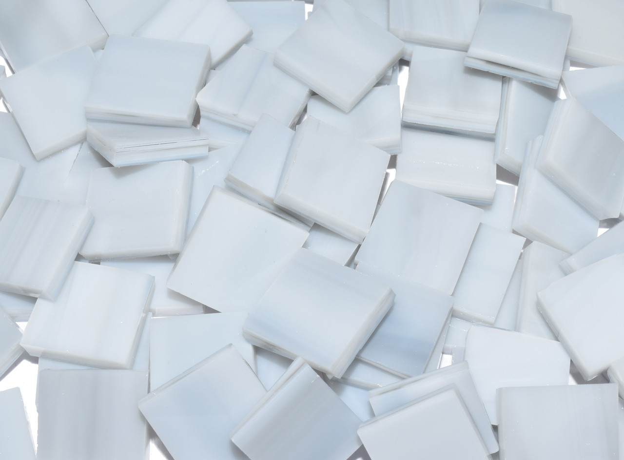 Pale Gray Streaky Opal Stained Glass Mosaic Tiles