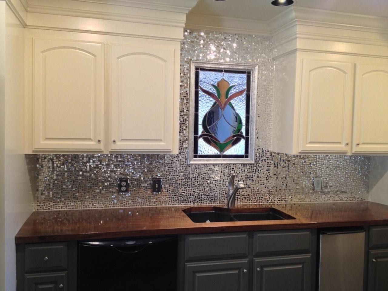 SILVER MIRROR JUMBLED MIX - ONE POUND mosaic tiles