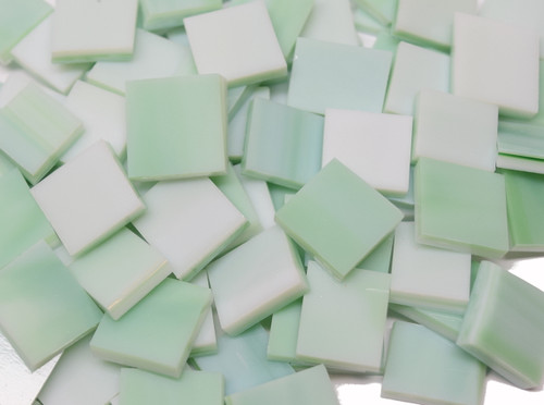 Bulk Discount - Wispy Mint Opal Stained Glass Mosaic Tiles