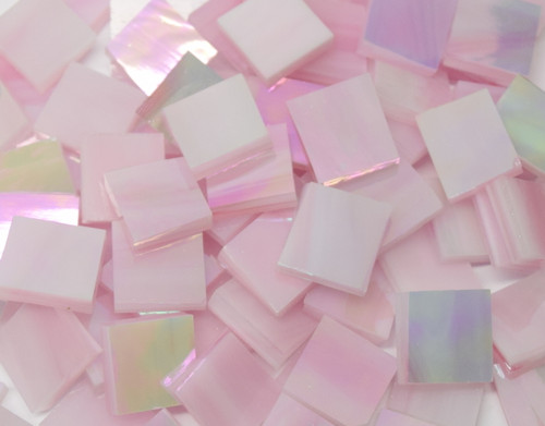 Bulk Discount - Pink & White Wispy Iridescent Stained Glass Mosaic Tiles