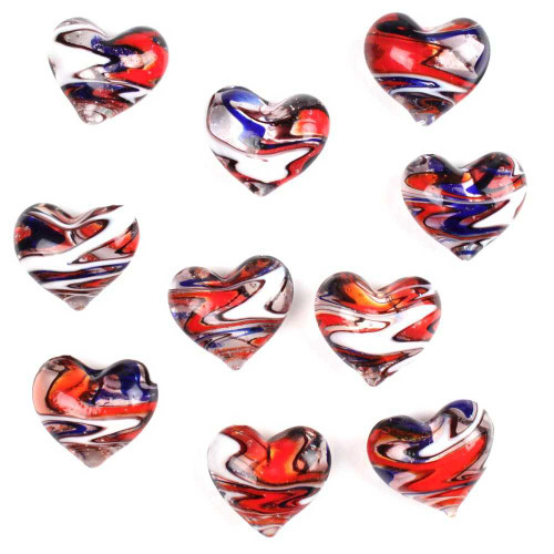 1 Round Glass Heart 25mm - PATRIOTIC SWIRL