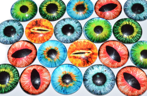 20 Cat / Dragon Eye Theme 25mm Round Glass Cabochons