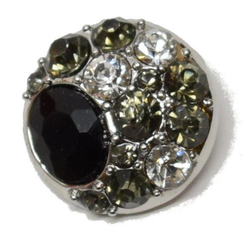 1 Black/Clear/Gray Rhinestone Snap Button Embellishment