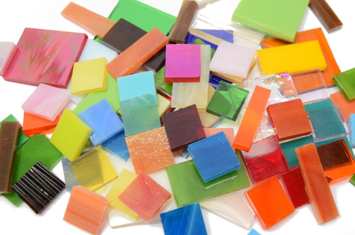 2 lb Random Jumbled Mix Stained Glass Mosaic Tiles - Save 10%