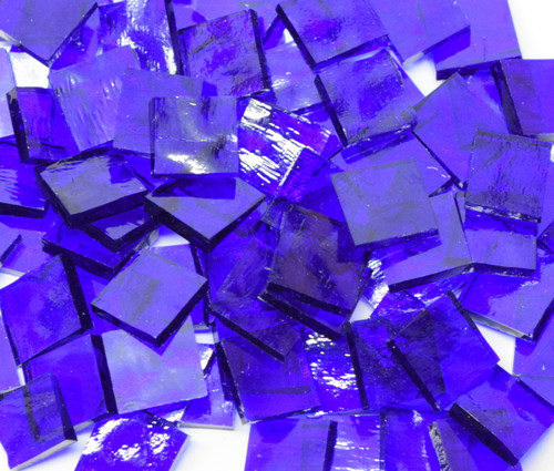 Bulk Discount - Majestic Blue English Muffle Hand Cut, Stained Glass Mosaic Tiles