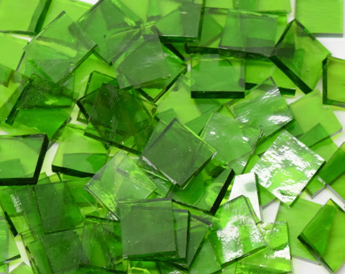 Bulk Discount - Spring Grass Green English Muffle Hand Cut, Stained Glass Mosaic Tiles