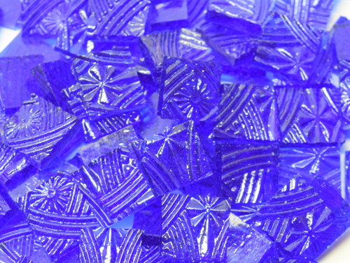 Bulk Discount - Medium Blue Cathedral Celtic Hand Cut, Stained Glass Mosaic Tiles