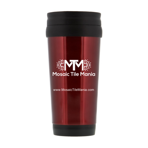 14 oz Travel Tumbler, Red w/ Mosaic Tile Mania Logo