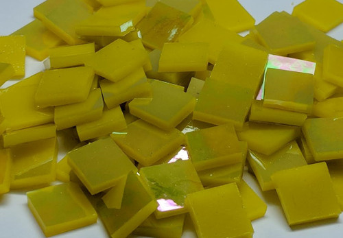 Bulk Discount - Bright Yellow Opal Iridescent Stained Glass Mosaic Tiles