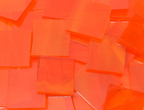 Tangerine Orange Wispy Stained Glass Mosaic Tiles