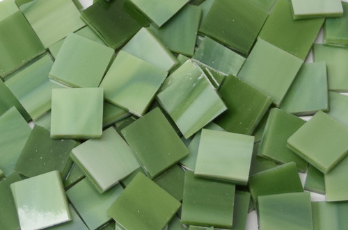 "1/2"" x 1/2"" Avocado Green Stained Glass Mosaic Tiles (100 tiles)"