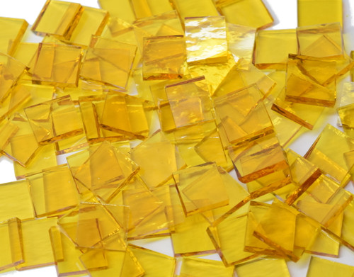 Yellow Rough Rolled Stained Glass Mosaic Tiles