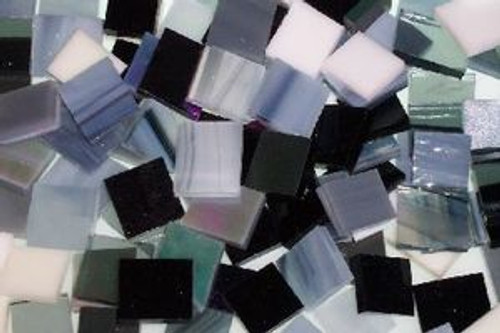 Black, White & Gray Mix Stained Glass Mosaic Tiles