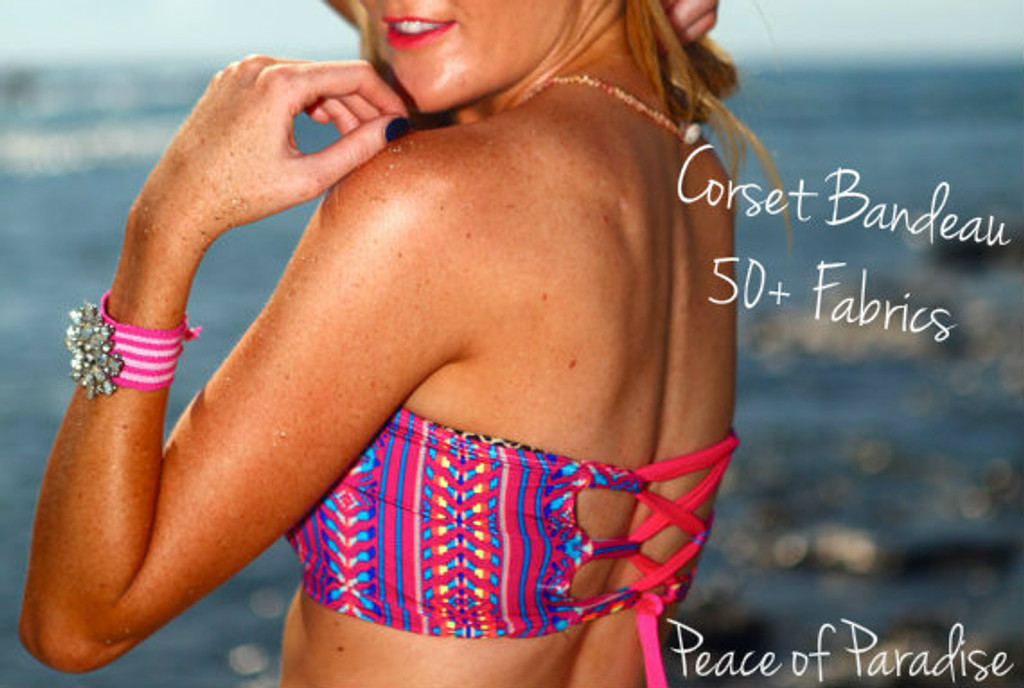 Sacred Style is Reversible Corset Bandeau Lace Up Strap Bikini Top  Customize Size & Choose from 50+ Fabrics