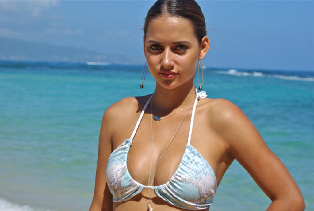 Hanapepe Braided Triangle Slider/Swoop Neck Bikini Top Customize Size & Choose from 50+ Fabrics