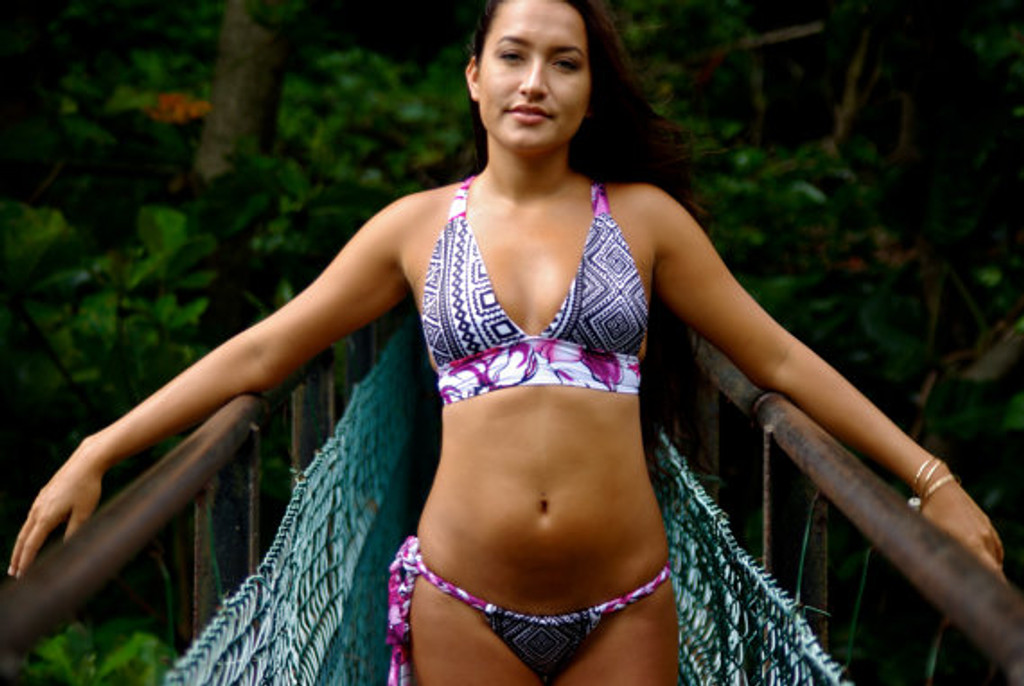 Chun's Halter Bikini Criss Cross Surfer Top Customize Size & Choose from 50+ Fabric