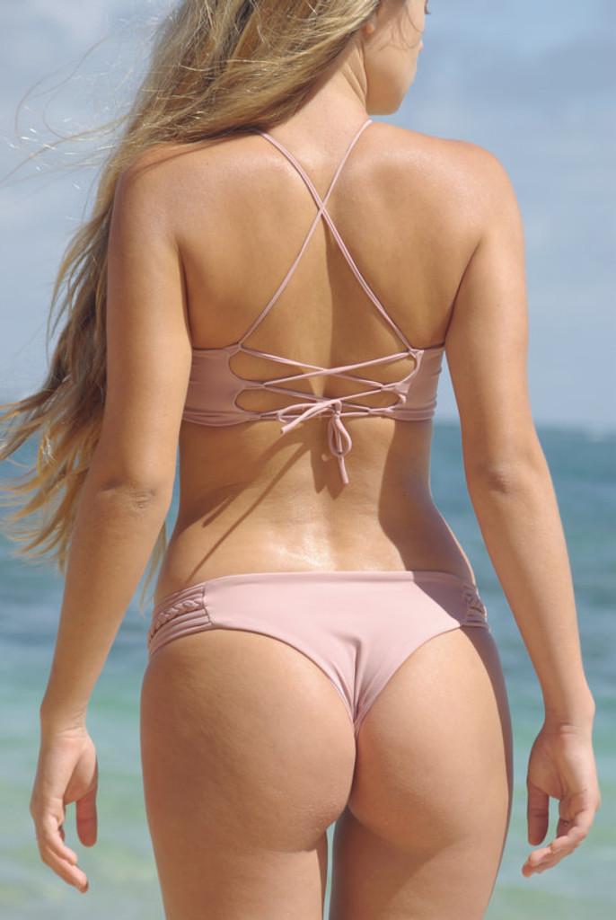 A A Seokea Reversible Corset Back High-Neck Halter Bikini Top Customized Size & Choose from 50+ Fabrics