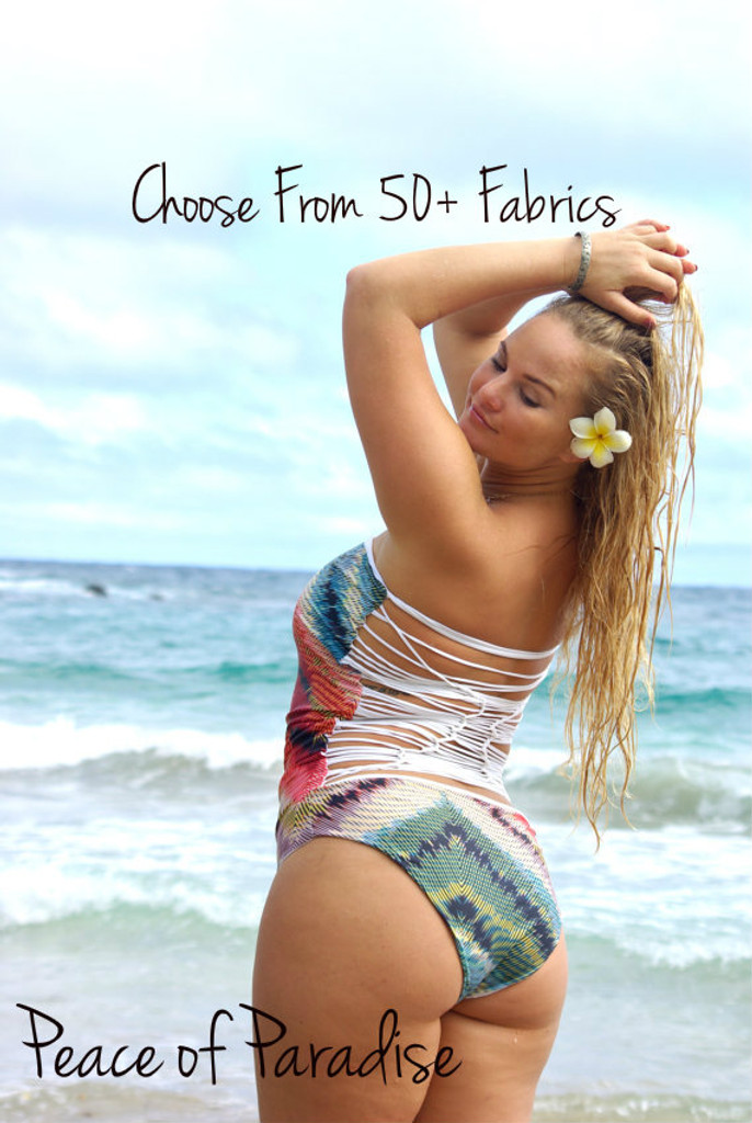 A OHEO  1 Piece Reversible  Strapless Knotted Bathing Suit Customize Size & Choose from 50+ Fabrics