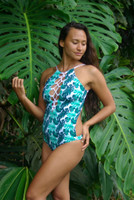B Waikani  High Neck Halter 1 Pc Swimsuit Reversible  Size & Choose from 50+ Fabrics