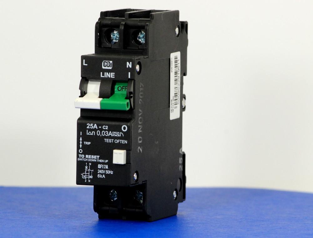 QF17A25 (1 Pole + Neutral, 25A, 240VAC, UL 1053, GFI/ Earth Leakage)