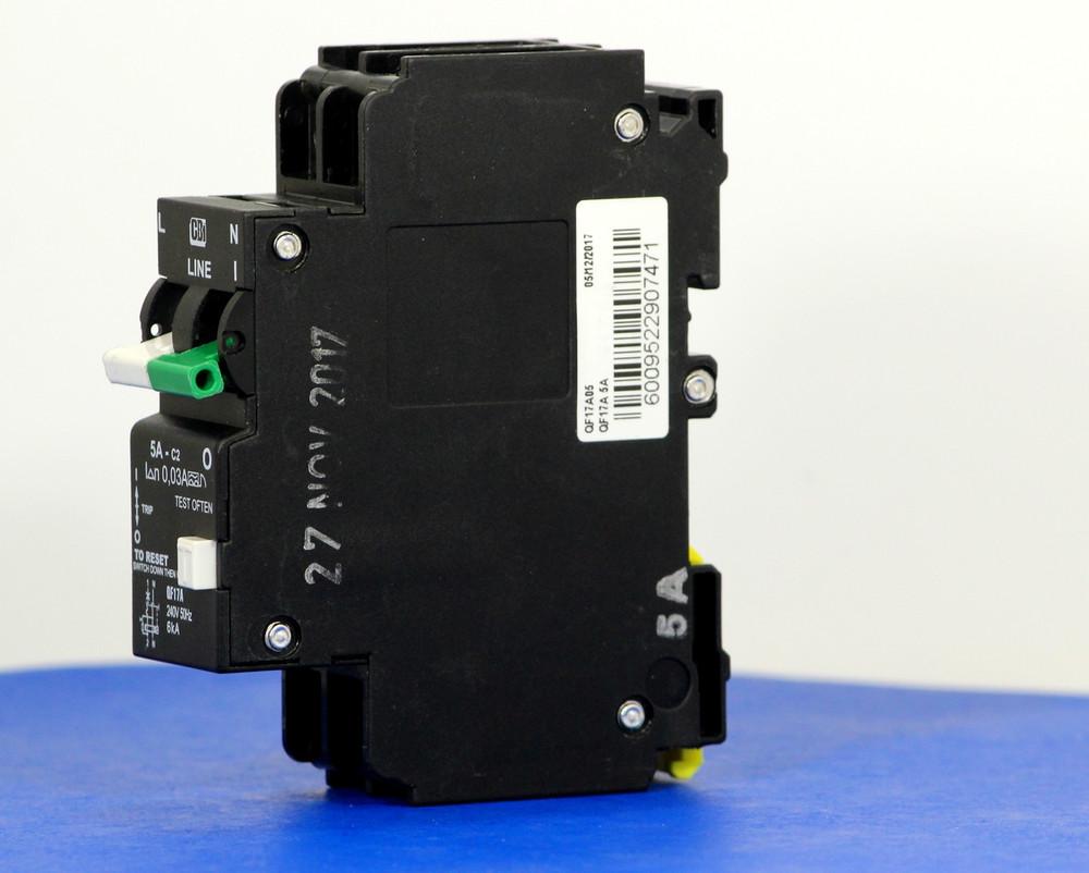 QF17A05 (1 Pole + Neutral, 5A, 240VAC, UL 1053, GFI/ Earth Leakage)