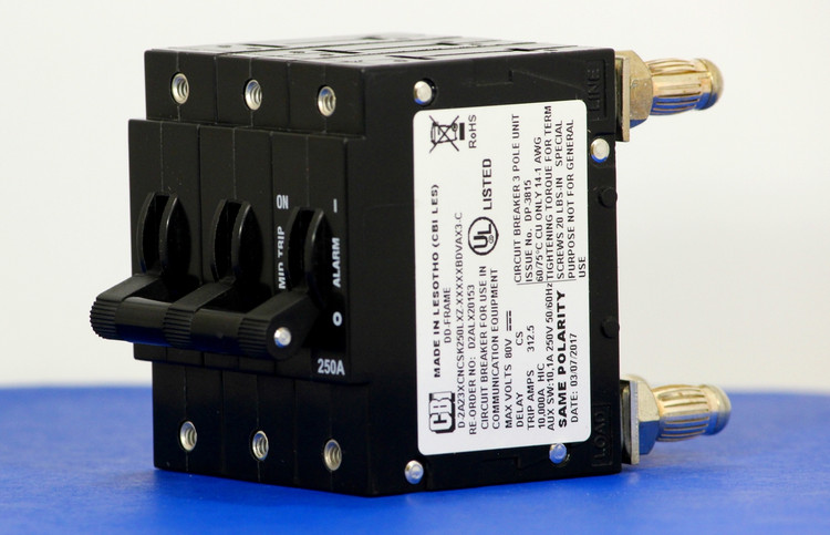 D2ALX20153 (3 Pole, 250A, 80VDC, Plug-In Terminals, Series Mid-Trip w/alarm, UL Listed (UL 489))