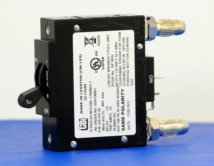 DDA130061 (1 Pole, 60A, 80VDC, Plug-In Terminals, Series Mid-Trip w/alarm, UL Listed (UL 489))