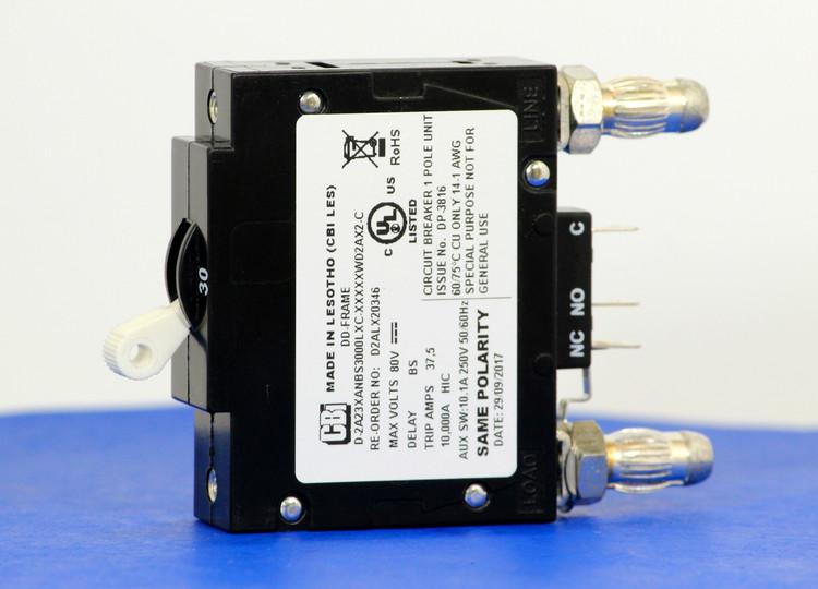 D2ALX20346 (1 Pole, 30A, 80VDC, Plug-In Terminals, Series Mid-Trip w/alarm, UL Listed (UL 489))